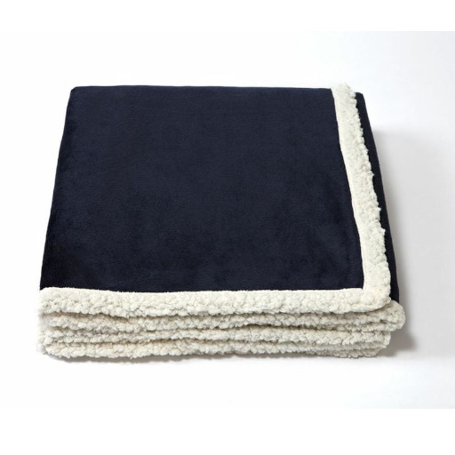 Midnight Blue folded blanket with white underside