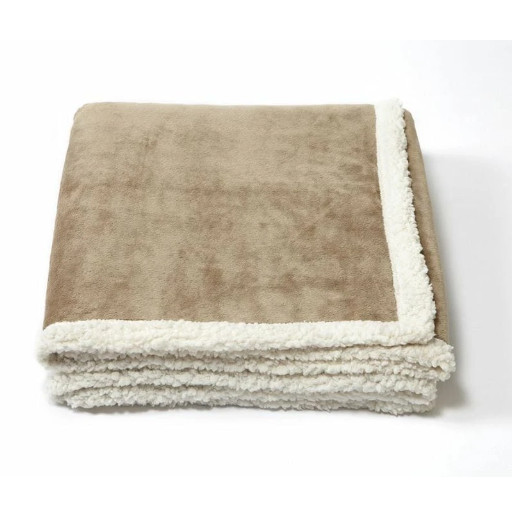 Tan folded blanket with white underside