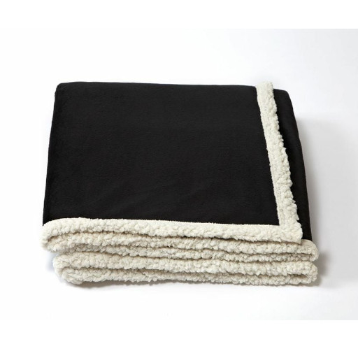 Black folded blanket with white underside
