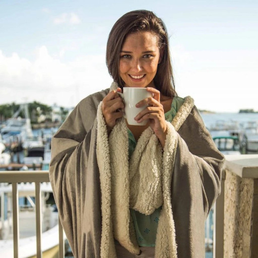 Woman outside with Personalized Tan Blanket draped around her