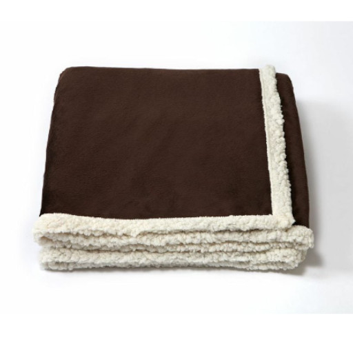 Brown folded blanket with white underside